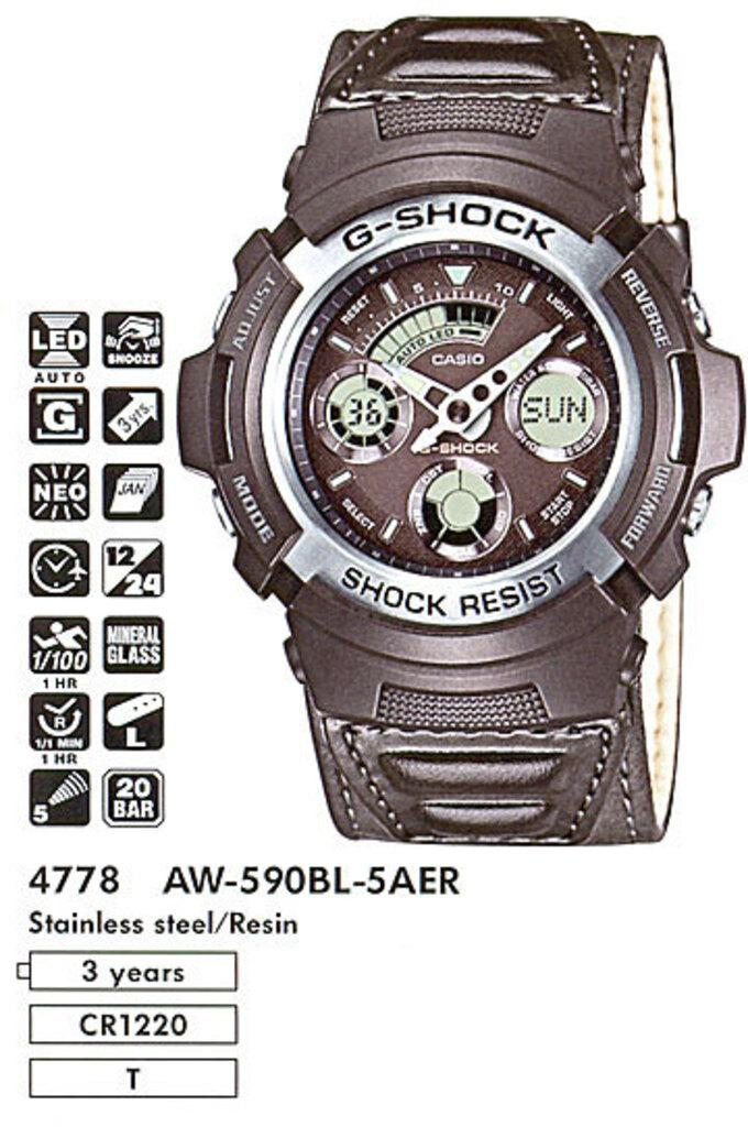 Инструкция к часам Casio G-Shock AW-590 / 4778